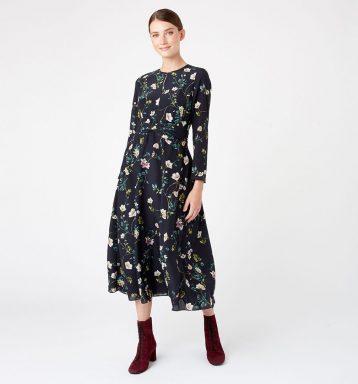Hobbs Silk Hellebore Floral Print Sleeve Dress Navy Multi