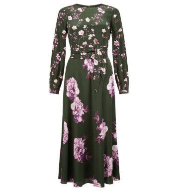 Hobbs Silk Winter Rose Dress Green Pink