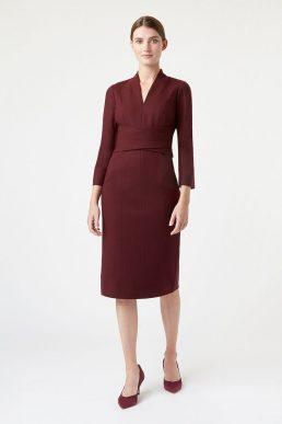 Hobbs Teresa Sleeve Dress Burgundy Red