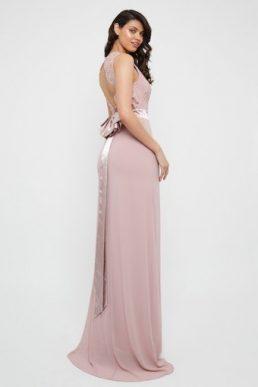 TFNC Halannah Lace Sleeveless Pale Mauve Maxi Dress Blush Pink