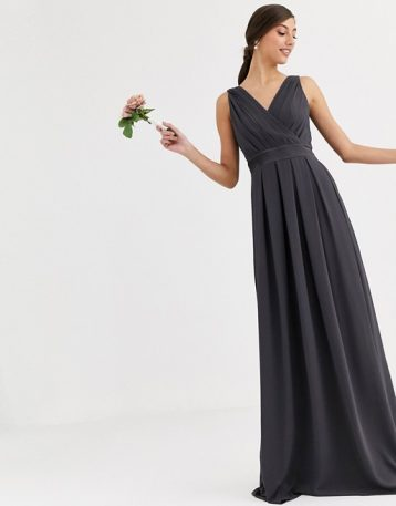 TFNC Tall Bridesmaid maxi dress with satin bow back in grey