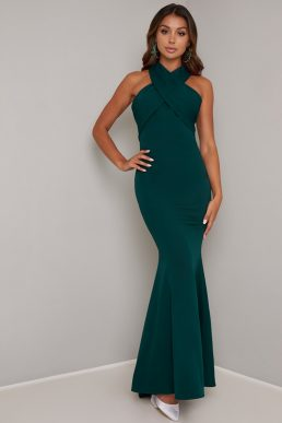 Chi Chi Chery Halter Maxi Dress Teal Green
