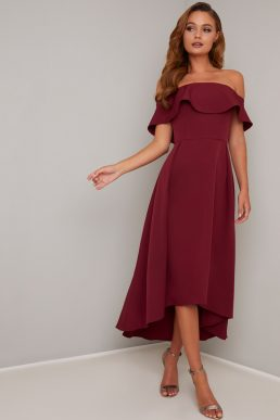 Chi Chi Elma Bardot Midi High Low Dress Burgundy