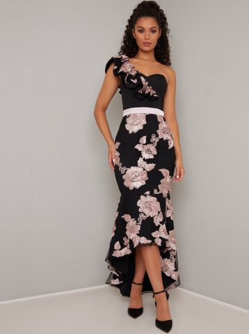 Chi Chi Neelam Floral Mermaid One Shoulder Dress Pink/Blush Black