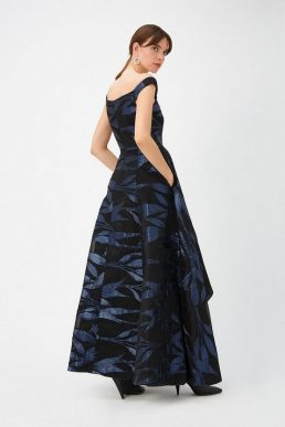 Coast Blue Leaf Maxi Dress Navy Blue