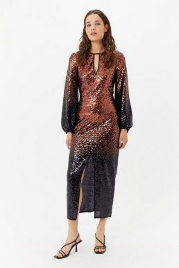 Coast Ombre Sequin Sleeve Maxi Dress Bronze