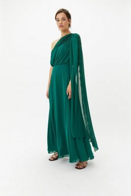 Coast One Shoulder Lace Maxi Dress Green