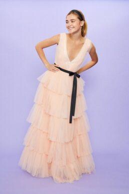 Coast Tulle Layered Maxi Dress Pink Blush