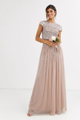 Maya Bridesmaid delicate sequin tulle skirt co ord in taupe