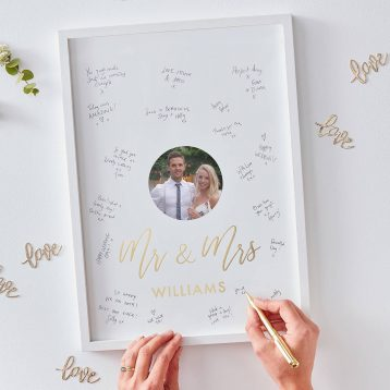 Personalised Mr And Mrs Frame Guest Book Gold Wedding