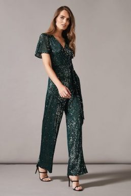 Phase Eight Alessandra Sequin Sleeve Jumpsuit Green