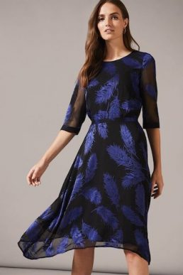 Phase Eight Feather Devoure Sleeve Dress Blue Black