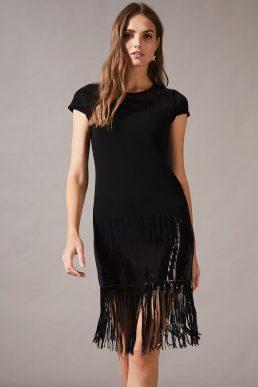 Phase Eight Ferne Fringe Sequin Dress Black