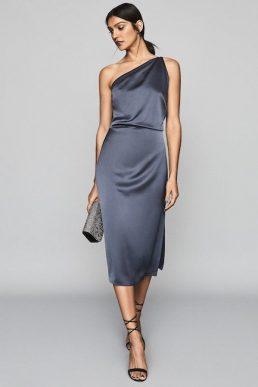 Reiss Eden One Shoulder Satin Dress Navy Blue