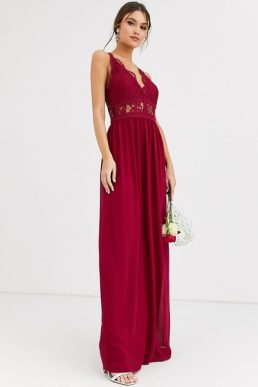 TFNC Bridesmaid halter neck maxi dress with lace inserts in mulberry red