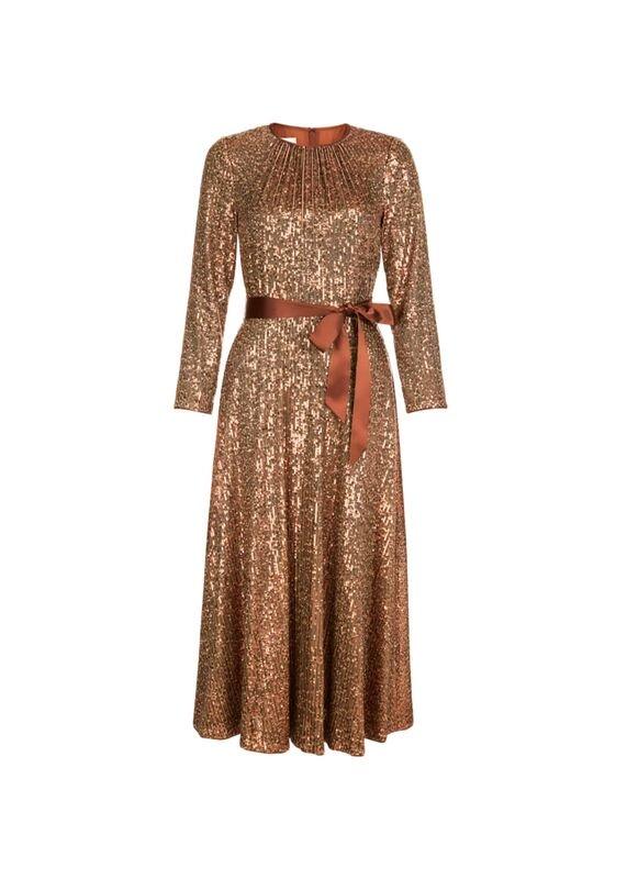 Hobbs Salma sequin Dress gold