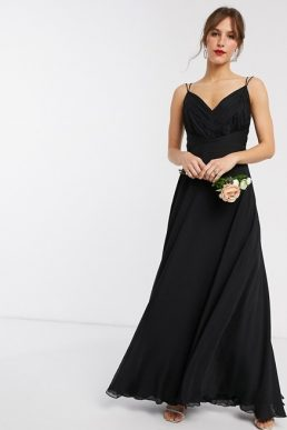 ASOS DESIGN Bridesmaid cami maxi dress with ruched bodice black