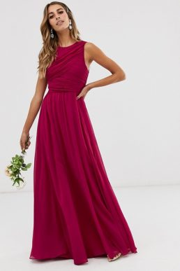 ASOS DESIGN Bridesmaid maxi dress with soft pleated bodice Dark Pink