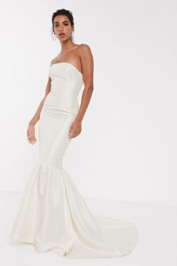 ASOS EDITION bandeau wedding dress with trumpet hem Ivory Oyster