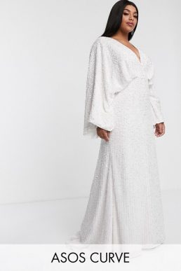 ASOS EDITION Curve sequin kimono sleeve wedding dress Ivory