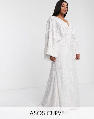 ASOS EDITION Curve sequin kimono sleeve wedding dress Ivory