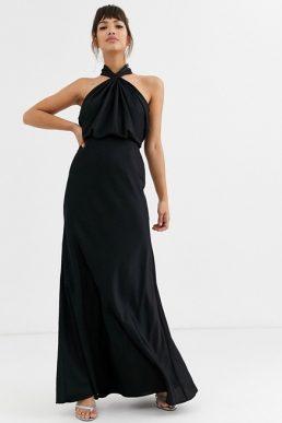 ASOS EDITION ruched halter neck maxi bridesmaid dress Black