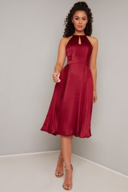 Chi Chi Amee Pleated Shirt Halter Dress Burgundy