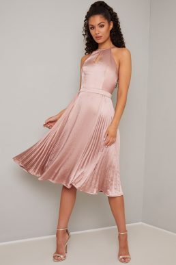 Chi Chi Ruellia Pleated Short Halter Dress Pale Pink Blush