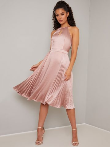 Chi Chi Ruellia Pleated Short Halter Dress Pale Pink Blush
