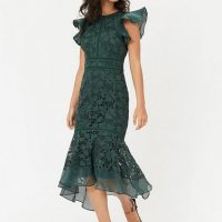 Coast Floral Lace Frill Sleeve Peplum Dress Green