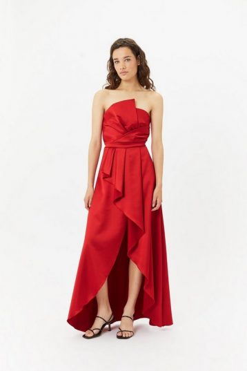 Coast Structured Strapless Ruffle High Low Dress Red
