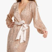 Forever New Sleeve Sequin Mini Dress Soft Pink Blush