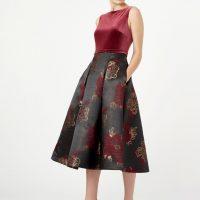 Hobbs Belle Jacquard A-line Dress Plum Black