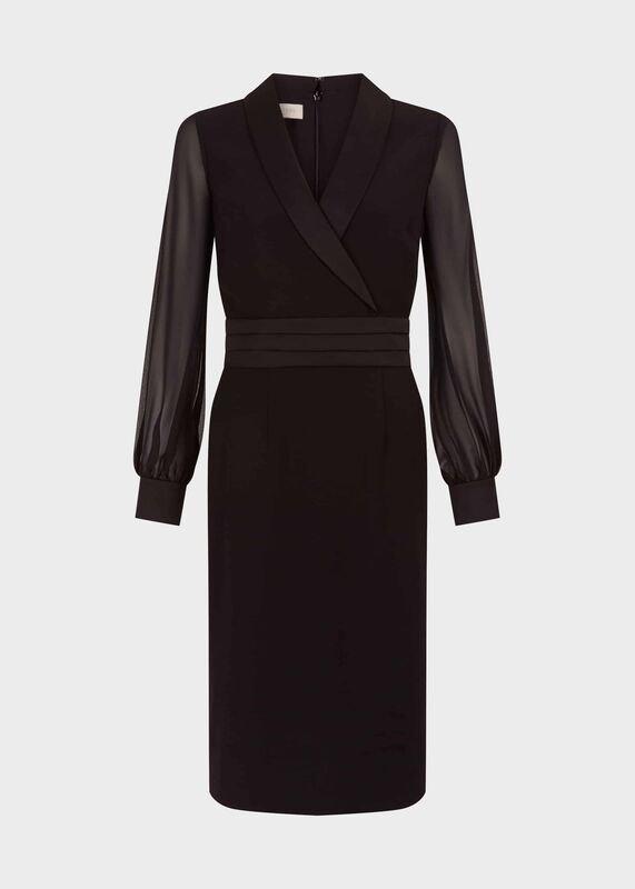 https://www.myonewedding.co.uk/product/hobbs fridah tux shift sleeve dress black
