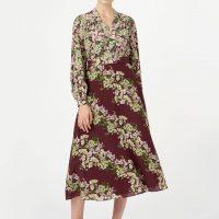 Hobbs Silk Botanic Floral Sleeve Midi Dress Mulberry Multi