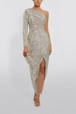 Rasario One-Shoulder Sequin Maxi Gown Silver