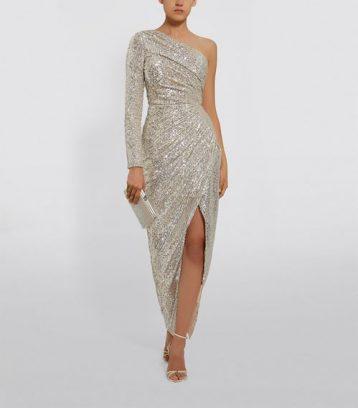 Rasario One-Shoulder Sequin Maxi Gown Silver