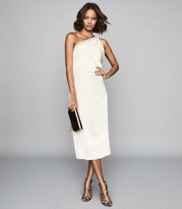 Reiss Eden One Shoulder Satin Dress Ivory