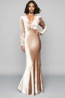 Reiss Klara Velvet Plunge Neckline Maxi Dress Gold Metallic