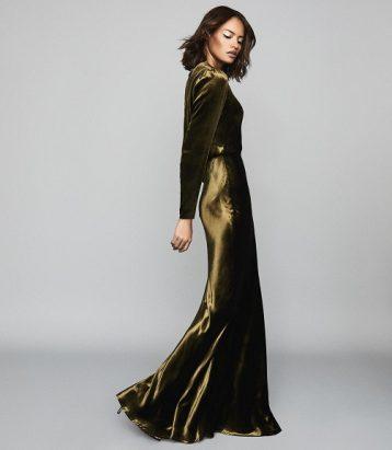 Reiss Klara Velvet Plunge Neckline Maxi Dress Khaki Green