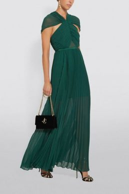 Self-Portrait Chiffon Pleated Maxi Dress Green