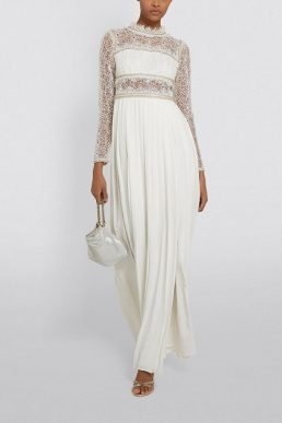 Self-Portrait Embellished Lace Sleeve Maxi Dress Ivory