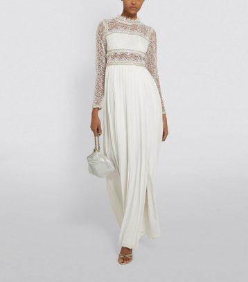 Self-Portrait Embellished Lace Sleeve Maxi Dress Ivory