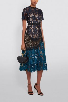 Self-Portrait Prairie Guipure Midi Dress Navy Blue