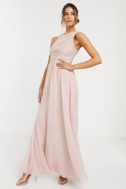 ASOS DESIGN Bridesmaid maxi dress with soft pleated bodice Pale Pink Blush