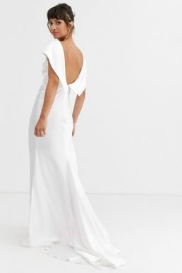 ASOS EDITION off shoulder maxi wedding dress with drape back detail Ivory