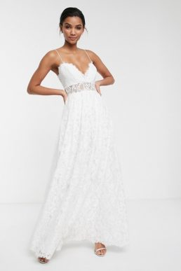 ASOS EDITION lace cami wedding dress with full skirt Ivory