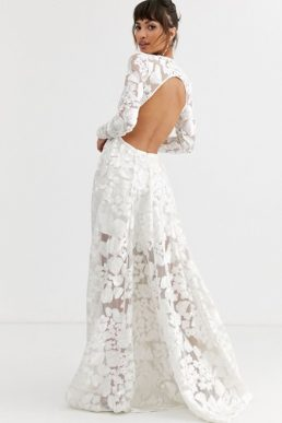 ASOS EDITION wedding dress with open back and floral embroidery Ivory