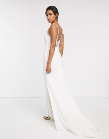 ASOS EDITION wedding dress with V back and crystal strap detail Ivory