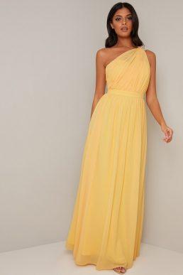 Chi Chi Suria One Shoulder Bridesmaid Maxi Dress Yellow